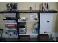 shelving unit with adjustable height shelves and a magnetic whiteboard,( bookcase )