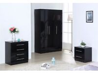 BLACK HIGH GLOSS BEDROOM FURNITURE SET - 3 DOOR WARDROBE, CHEST & BEDSIDE CABINET