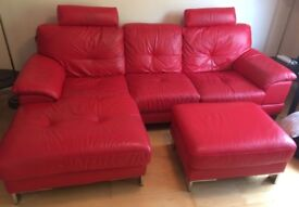 For Sale - Red leather corner sofa and foot stall