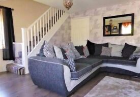 Immaculate Corner sofa, foot stool and cushions