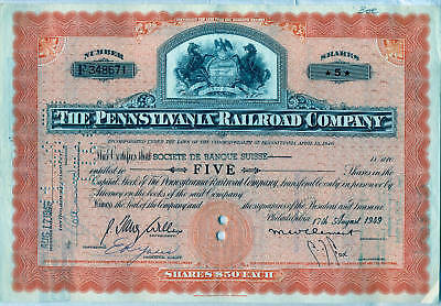 Pennsylvania Railroad Company Stock Certificate Orange Horses State (Pennsylvania Railroad Company)