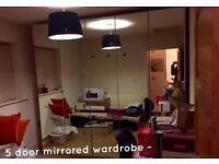 Ikea pax wardrobe very large 5 door mirrored wardrobe