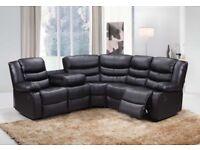 New Luxury Premium Bonded Leather Recliner Corner Sofa