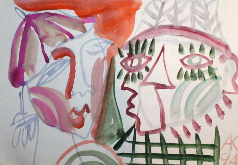 ABSTRACT EXPRESSIONIST ART FIGURES PORTRAIT FACES WATERCOLOR DRAWING SIGNED