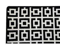 New, Geometric Black and White Square Rug (206x206cm)