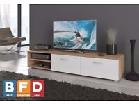 Modern TV Unit Cabinet 2 Meter Long 2 Door TV Stand Board Plasma Oak Sonoma Light / White gloss