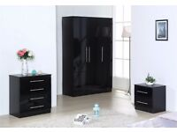 BLACK HIGH GLOSS BEDROOM FURNITURE SET - WARDROBE, CHEST & BEDSIDE **FREE DELIVERY UPTO 50 MILES**