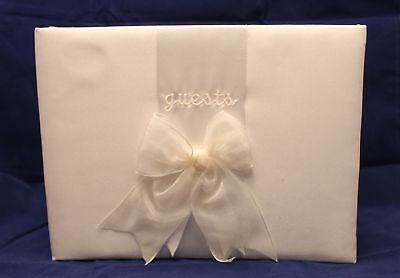 Marfil Libro de Invitados Boda Chifón Lazo Novia Recepción Elegante Crema Satén