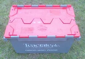 Used large plastic storage crate with lid