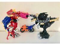 Power Rangers Dino Charge Megazord + Black T-rex + motorbike. Excellent condition!