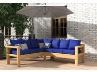 New Solid Wood 7 Seater Garden Corner Sofa set