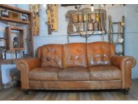 Vintage Leather 3 Seater Sofa Couch Tan