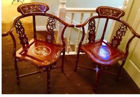 Beautiful Rosewood corner chairs