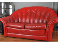 2 x Two Seater Vintage Chesterfield Tetrad Red Leather Sofas