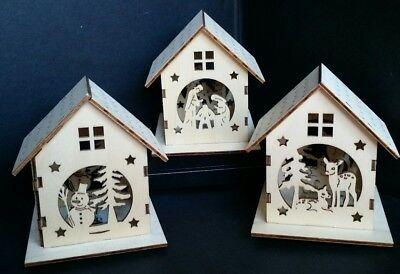 Light Up Wooden House Christmas Table Decor Set of 3 by Cypress Home 8LED070 ()
