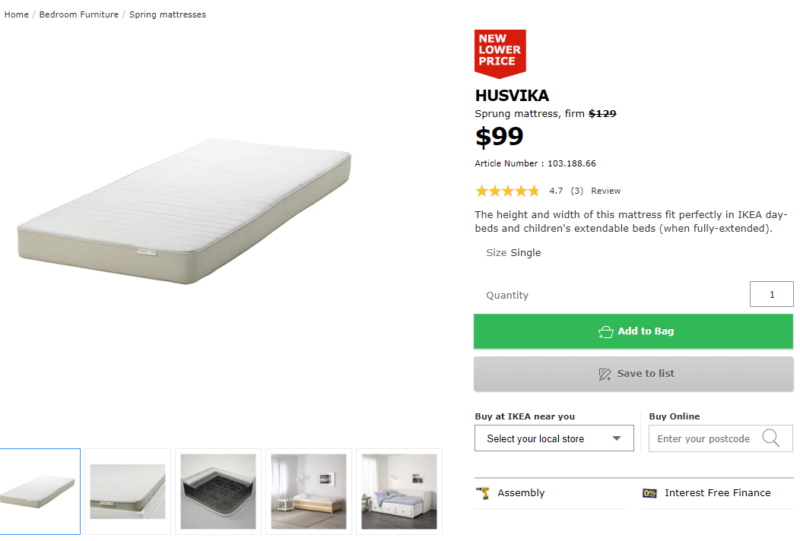 check out 68b0b 1ab9a IKEA HUSVIKA Sprung SINGLE mattress, firm, beige | Beds ...