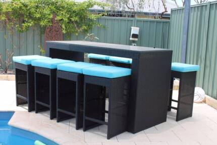 Cook Islands 8 Seat Outdoor Wicker Bar Setting Dining Table