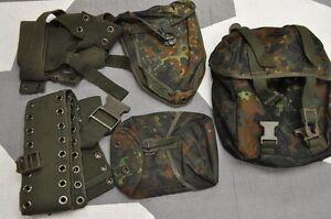 Genuine-German-Army-Flecktarn-Camo-Combat-Webbing-5-PCS-Basic-Kit-Excellent