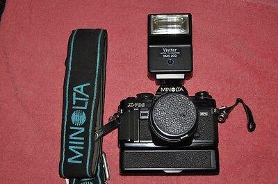 :Minolta X-700 35mm Camera w/ ultra fast 50mm F1.4, Motor & Vivitar Flash