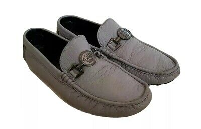 VERSACE LOAFERS SHOES GUNMETAL MEDUSA GREY LEATHER SIZE UK 10  EU 44