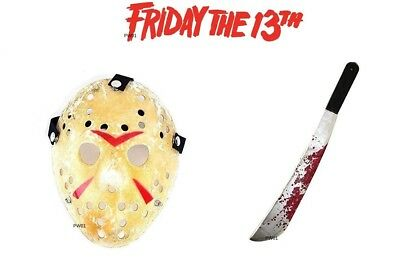 Friday The 13th Jason Voorhees Prop Replica Mask & Machete Halloween Fancy Dress