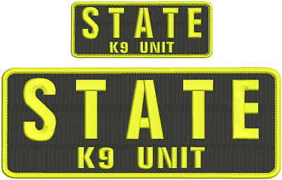 STATE Trooper K9 unit embroidery patch 4x10 and 2x5 hook on back yellow letters