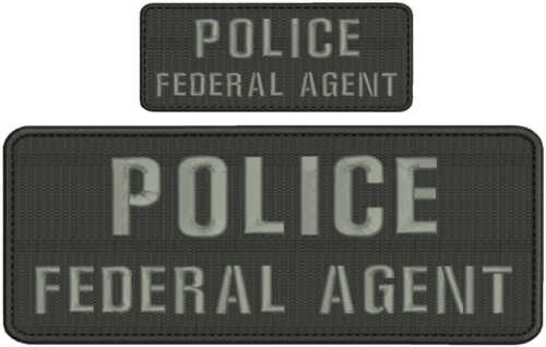 POLICE FEDERAL AGENT 4x10 and 2x5 hook grey letters