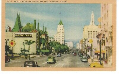 Vintage Postcard Hollywood Blvd. California Grauman's Old Cars Unsent Old California Postcards