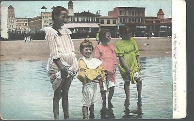 1909 KIDS Wading & Getting Their Foot Wet Jersey Shore Atlantic City NJ (Jersey Shore Kids)