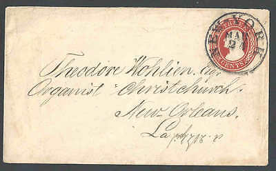 1853 U9 Used Entire 3c Red On White Die 5 NY Cancel