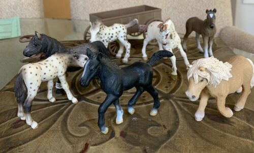Schleich Gmund Collection 7 Horses 1 Wagon Made In Germany