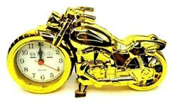 Motorcycle Autobike Harley Davidson Analog Top Grade Desk Alarm Clock All Gold