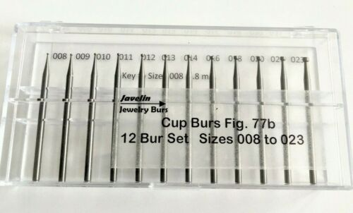 JEWELERS CUP BUR SET, 12 PCS 008 TO 023,  FIG 77B, QUALITY BURS FOR JEWELERS