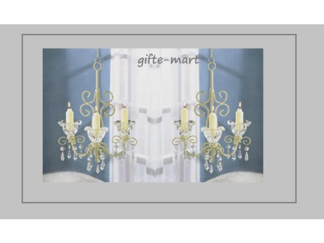2 white hanging SHABBY crystal bead CHANDELIER can