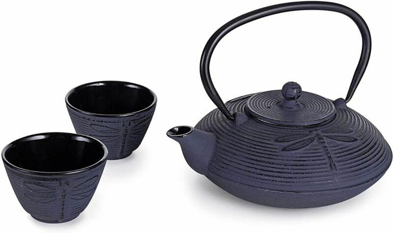 Rikyu Japanese Cast Iron Tetsubin Tea Set (Purple Dragonfly)