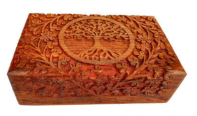 Fine Wooden Carving Box Tree of Life for Jewelry Handmade Indian GIFT BOX ITEM (Carving Box)