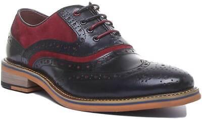 Justin Reece Bryan Mens Suede Formal Brogue Shoes In Black Wine Sizes UK 6 - 12