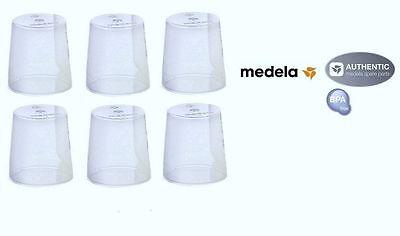 6 Medela Clear Travel Caps bottle Nipple Collar Cap - Genuine -