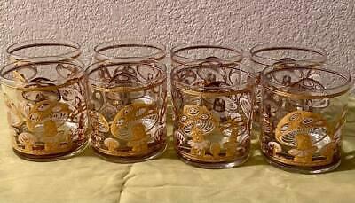 Rare Find! 1960's Culver Limited 22K Gold Mushroom - Set of 8-  Bourbon Glasses