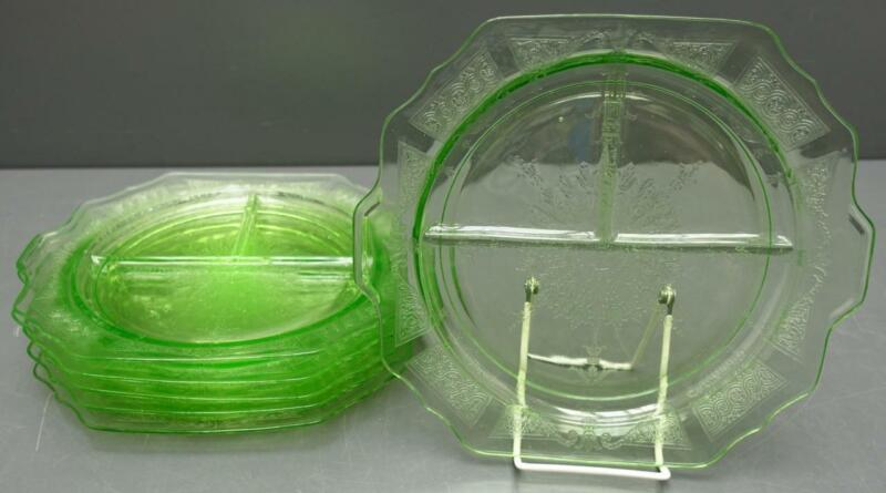 Set 6 Anchor Hocking Princess Green Depression Glass Grill Plates b