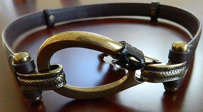 (Fashion Focus Women's Brown Leather Adjustable Belt Size M/L New)