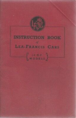 LEA FRANCIS 14/70 MkV & MkVI SIX-LIGHT SALOON 1948-51 OWNER INSTRUCTION HANDBOOK