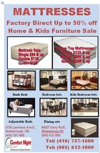 Twin Mattress $99 / Double Mattress $139 /Queen Mattress $189