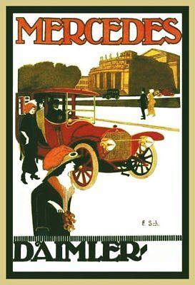 Farb-Plakat: Mercedes-Daimler aus dem Jahr 1912