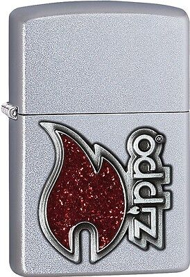 Zippo 2015 Catalog The Red Flame Emblem Satin Chrome Finish Lighter 28847 *NEW*