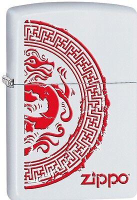 Zippo 2015 Catalog Chinese Style Dragon Stamp White Matte Finish Lighter 28855