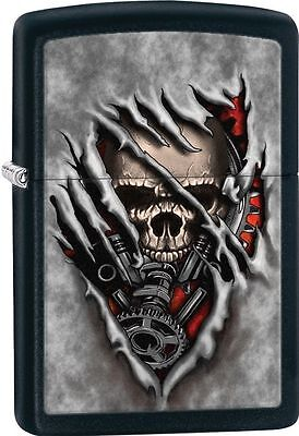 Zippo Windproof Black Matte Lighter With Steampunk Skull, 28882, New In Box