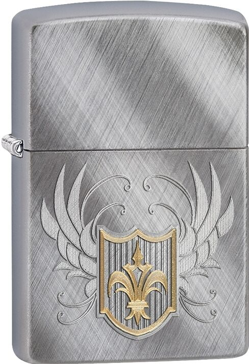 Zippo 2015 Catalog Fleur De Lis Coat Of Arms On A Diagonal Weave Lighter 28852