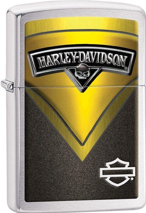 Zippo New 2015 Catalog HD Harley Davidson Green V Brushed Chrome Lighter 28821
