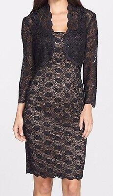 Alex Evenings Black Stretch Sequin Lace Sheath Dress w/Bolero Jacket - MSRP (Alex Evenings Sequin Lace Bolero Jacket Dress)